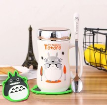 Totoro White Slim Mug with 2 Tree Coffee Tea Milk Cup 400ML + Lid + Spoon - $37.75