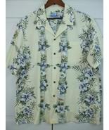 RJC Ltd Mens 2XL Hawaiian Party Shirt Yellow 100% Cotton Floral Palm Tre... - $19.75