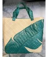 NANCY GONZALEZ Natural Straw Tote Bag w/Teal Green Crocodile Accent & Tr... - $771.11