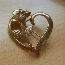 Vintage Signed ROC Gold-tone Heart Rose Brooch - $11.87