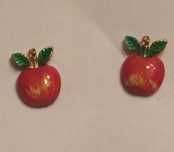VTG 80s LIttle Enameled Apple Stud Earrings~ Gold Tone Minimalist Shiny ... - $19.98