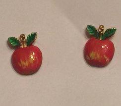 VTG 80s LIttle Enameled Apple Stud Earrings~ Gold Tone Minimalist Shiny ... - $7.60