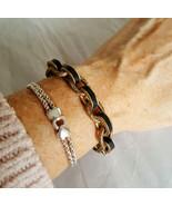 The SAK Chunky Black Leather Covered Textured Gold Link Bracelet - $22.99