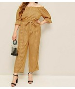 Off Shoulder Polka Dot Belted Jumpsuit Romper Plysuit Plus Size Top Pant... - $44.99