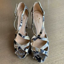 EUC KATE SPADE New York Black, Gray, Gold Snakeskin High Heel Sandals SZ... - $78.21