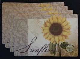 SUNFLOWER PLACEMATS Set of 4 Vinyl / Foam back Yellow Flower Floral NEW - $17.99
