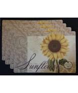 SUNFLOWER PLACEMATS Set of 4 Vinyl / Foam back Yellow Flower Floral NEW - $17.99