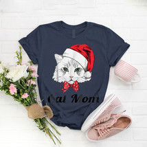 Cat Mom Santa Hat T- Shirt Birthday Funny Ideas Gift Vintage - $15.99+