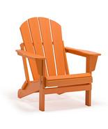 ORANGE Patio Adirondack Chair Folding Outdoor Poly Seat Lounge Garden Fu... - $169.95