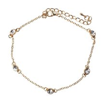 Inspired Silver Golden Chain Linked Bezel Set CZ Adjustable Anklet with ... - $24.45