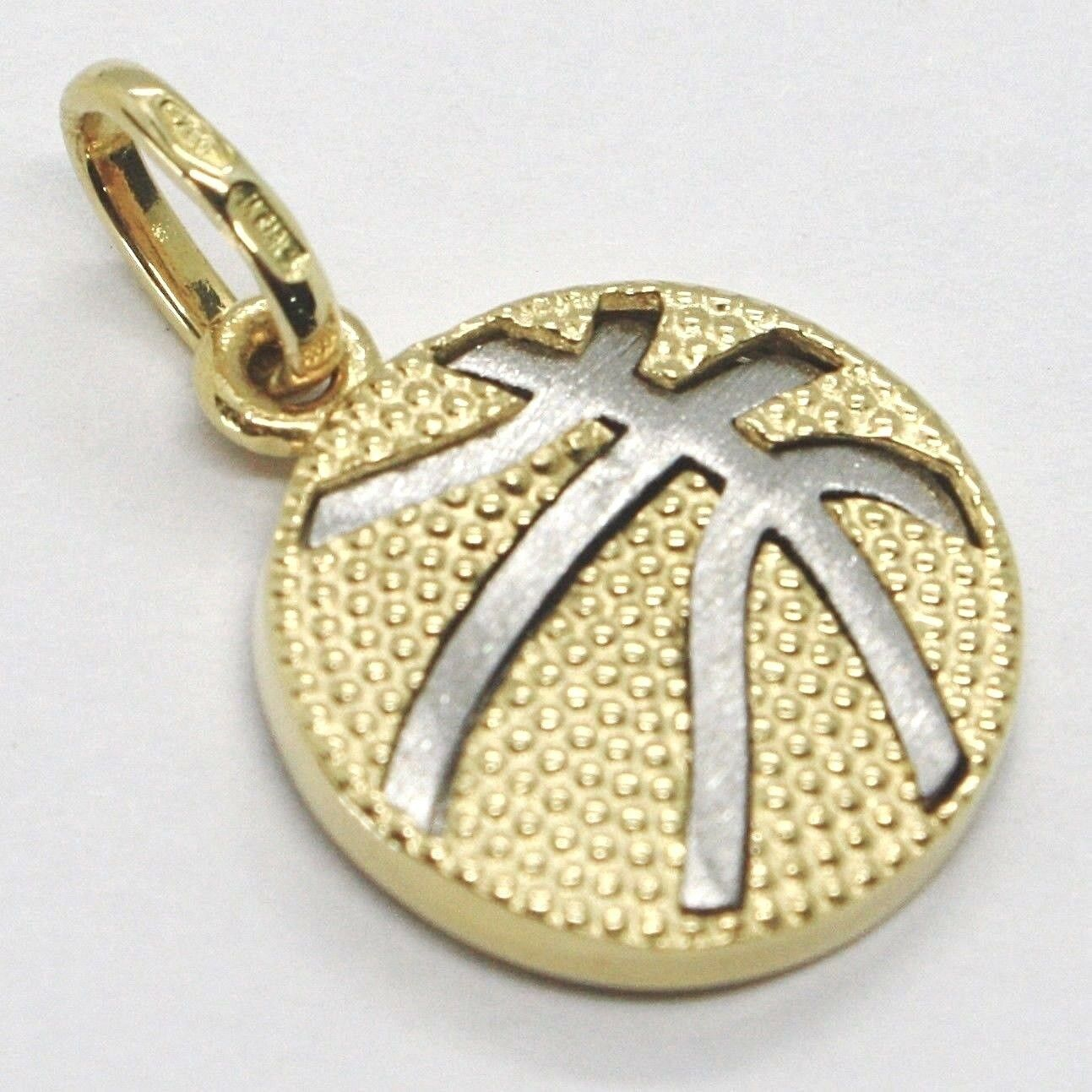 White Yellow Gold Pendant 750 18k, Basketball, Ball, Made in Italy