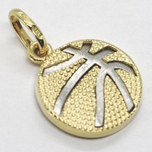 White Yellow Gold Pendant 750 18k, Basketball, Ball, Made in Italy image 1