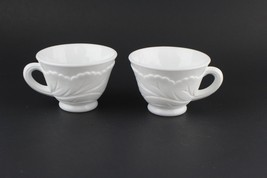 VTG 1960s Indiana Glass White Milk Glass Pebble Leaf Pattern Punch Bowl Cup Mug - $19.80