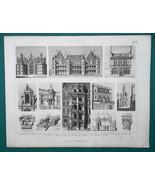 ARCHITECTURE French Castles Blois Boulogne Bury Chambord - 1870 Engravin... - $16.20