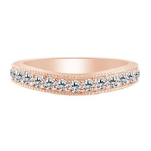 0.26 Ct White Diamond 14k Rose Gold 925 Curved Shape Anniversary Band Ring - $86.23