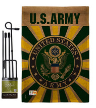 Army Burlap - Impressions Decorative Metal Garden Pole Flag Set GS108396-DB - $36.97