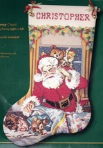 Bucilla Visions Sugarplums Santa Christmas Cross Stitch Stocking Kit 84026 E - $89.95