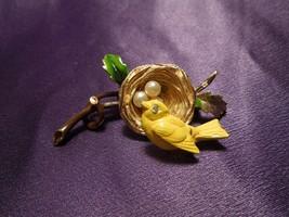 Vintage Florenza Enamel Spring Trembler Bird & Nest W/ Eggs Pin Brooch - $49.50