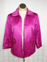 NWT Chico's Open Front Womens Party Blazer Sz 0 Applique Flowers Pink $128 - $37.78
