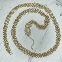 """Joan Rivers Gold Vintage Signed Chainmail Statement Long Chain Link Necklace 62"""" - $67.72"""