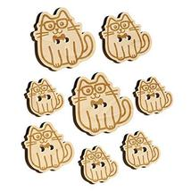 Cat Smart with Glasses and Bowtie Wood Buttons for Sewing Knitting Croch... - $9.99
