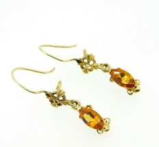 14k Yellow Gold Marquise Genuine Natural Citrine Wire Drop Earrings (#J1... - $250.00