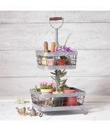 Country new FARMHOUSE weathered zinc 2 Tier Display basket organizer - $74.99
