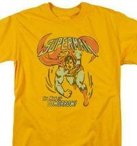 Superman T-shirt Man of DC comic book Batman superhero cotton gold tee DCO748 image 2