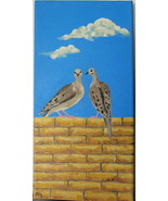 Original Acrylic Painting Two Mourning Doves by Artist Desert Free Shipping - $37.00