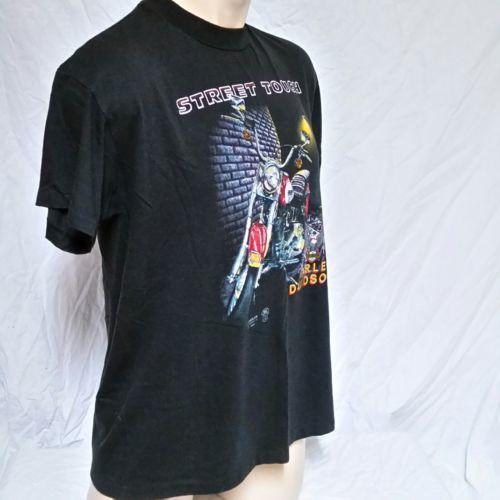 VTG 1989 Harley Davidson 3D Emblem Street Tough T Shirt 80s Tee Biker Trucker XL image 7