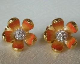 Vintage NOLAN MILLER Peachy/Cream Enamel & Clear Rhinestone Flower Clip ... - $75.00