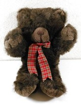 "14"" CUDDLE WIT Vintage BROWN BEAR Furry Red Plaid Ribbon Plush Stuffed T... - £15.19 GBP"