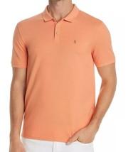 John Varvatos Men's Short Sleeve Peace Sign Polo Golf Shirt Pique Cotton Papaya - $64.77