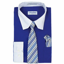 Berlioni Italy Boys Two Toned Kids Royal Blue Dress Shirt With Tie Hanky Set  16