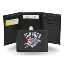 Oklahoma City Thunder Wallet Official NBA Embroidered Trifold Leather Black - $33.45