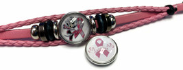 Minnie Mouse Breast Cancer Snaps & Pink Leather Bracelet W/2 Snap Jewelry Charms image 4