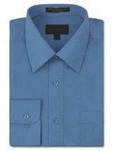 Men's Classic Fit Long Sleeve Wrinkle Resistant Medium Blue Dress Shirt XL