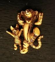 """Disney Tigger & Piglet Brooch Lapel Pin Brushed Goldtone Signed 1"""" Playf... - $14.49"""