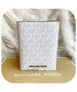 MICHAEL KORS JET SET TRAVEL PASSPORT CASE WALLET MK LOGO BRIGHT WHITE MULTI - $59.28