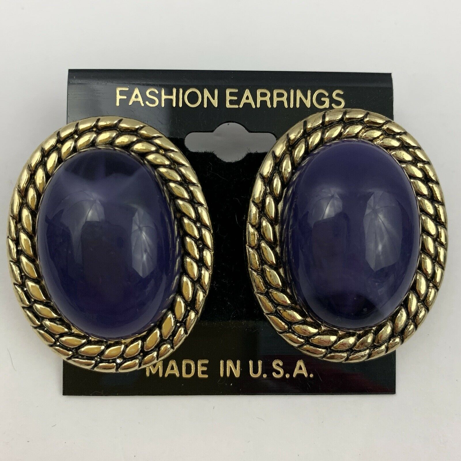Primary image for Vintage Big Purple Cabochon Plastic Pierced Earrings Gold Tone Textured Rope