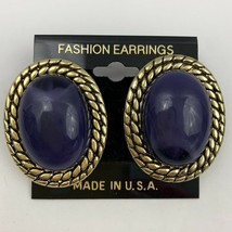 Vintage Big Purple Cabochon Plastic Pierced Earrings Gold Tone Textured ... - $11.10