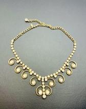 SARAH COV Gold Plated Collar Statement Necklace Swirl Dangled Rhinestones - $38.61