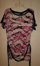 Dana Buchman, women short sleeves string belted top, tropical beat size ... - $11.43