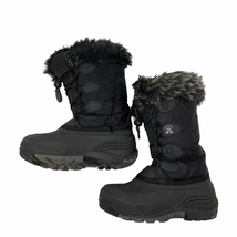 kamik black warm faux fur lined boots kids size 13 - $27.72