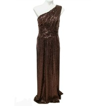 New Calvin Klein Size 6 Dress One Shoulder Gown Shirred Bodice Rose Gold... - $47.04