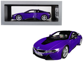 BMW i8 Purple with Black Top 1/18 Diecast Model Car by Paragon - $134.95