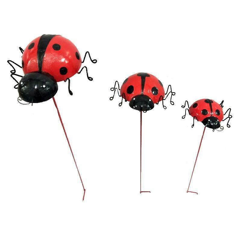 "Set of 3 Adorable Ladybug Design Metal Garden Stakes Double Pronged 28"" 24"" 20"""