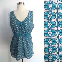 NEW NWT Eddie Bauer size LARGE blue geometric print sleeveless sheer blouse top - $34.98