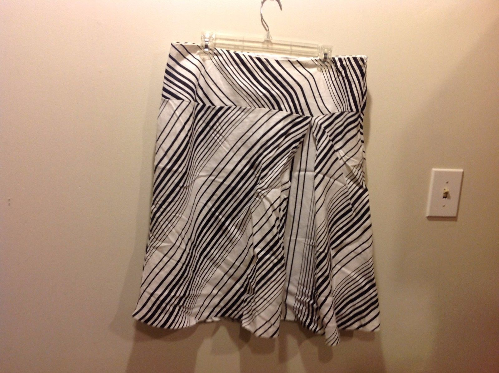 Carole Little White Casual Skirt with Black Horizontal Striped Design Sz 12