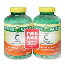 Spring Valley Vitamin C Tablets, 1000mg, 250 Count, 2 Pack,  Immunity Su... - $39.99